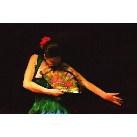 Dibujado Art Print Poster - The Flamenco Dancer's Fan Baile Danza Chicas