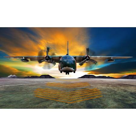 24x14in Poster Lockheed-c 130 Hercules transport aircraft landing cargo